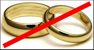 rings off but together indicating possible happy divorce proceedings