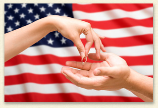 US flag and hands separating indicating military divorce lawyer new york