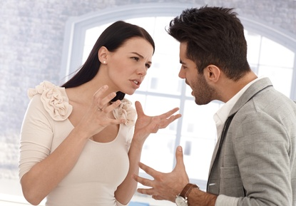 Divorce contested between a couple arguing
