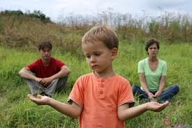 Parents and child outside dealing with a tough child custody decision